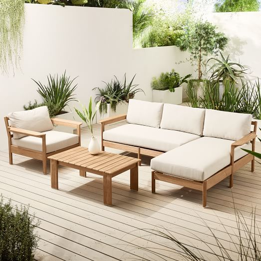 Playa Outdoor 3 Piece L Shaped Sectional Lounge Chair Outdoor Backyard Furniture Lounge Furniture