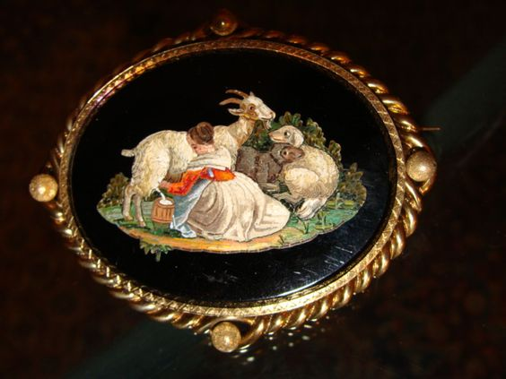 antique micromosaic | Antique Roman Micromosaic Brooch set in a 14K yellow gold mounting ...