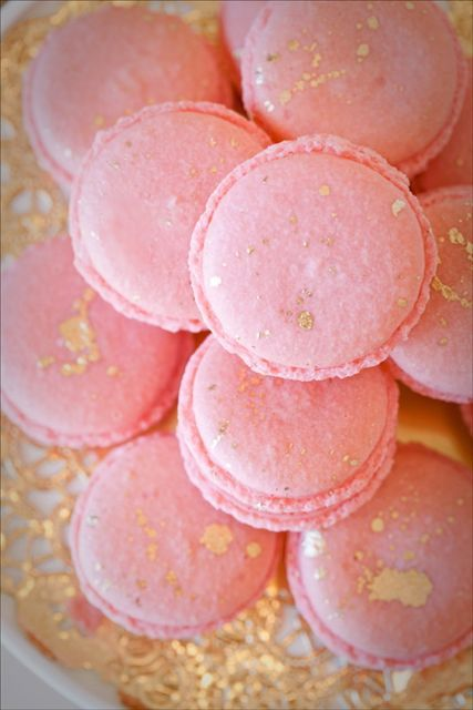 Blush Pink with Gold Splatter Macaroons from Sweet and Saucy Shop