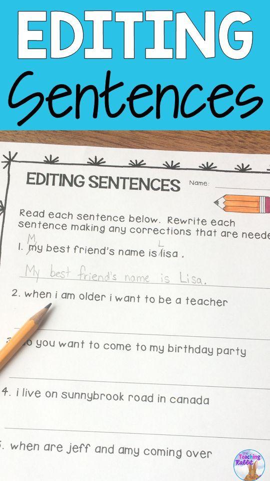 Sentence Editing Printable Digital Sentence Editing Kindergarten Worksheets Sight Words Elementary Writing Lessons 2nd grade sentence editing worksheets