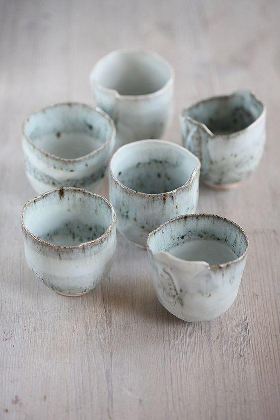6 main construite en grès et porcelaine 4 oz tasse de glaçage joli bleu