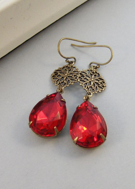 Anabelle,Vintage Earrings,Ruby Earrings,Brass Earrings,Ruby,Birthstone,Earrings,Rhinestone. Handmade Jewelry by valleygirldesigns.