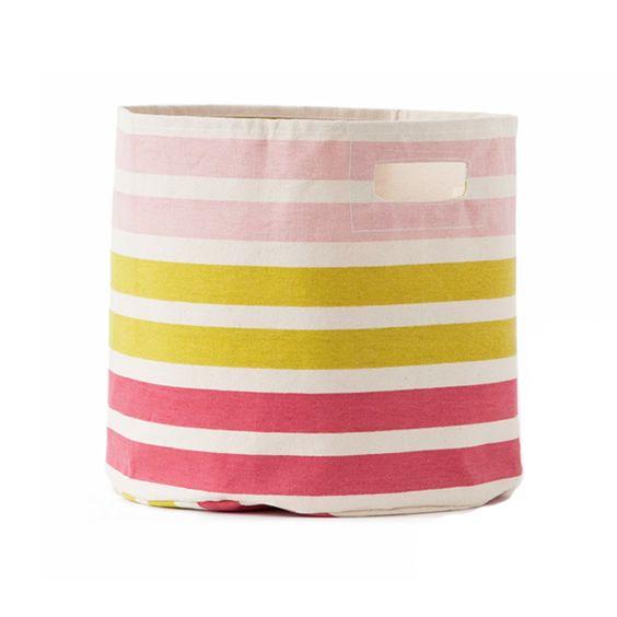 Stripes Pink and Citron Toy Storage Bin