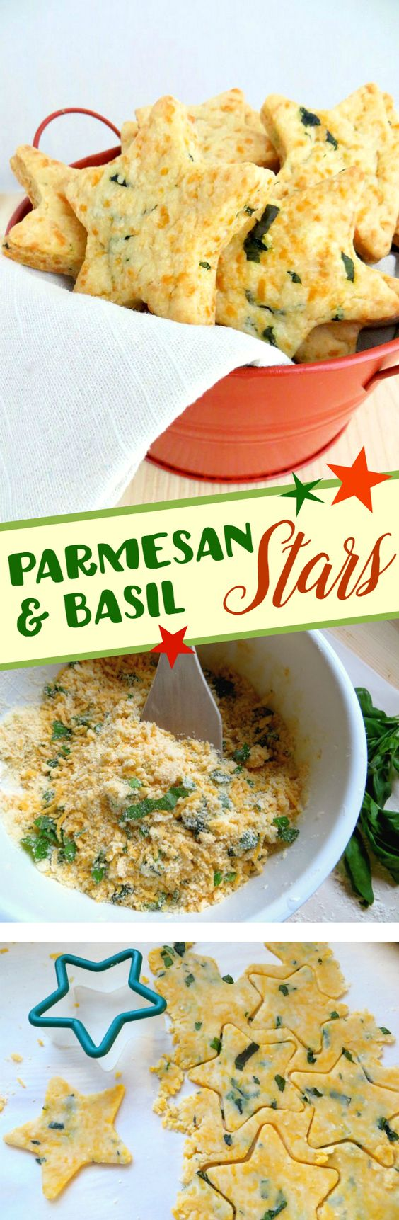Parmesan & Basil Stars - Great appetizer or snack recipe for 4th of July celebrations!: