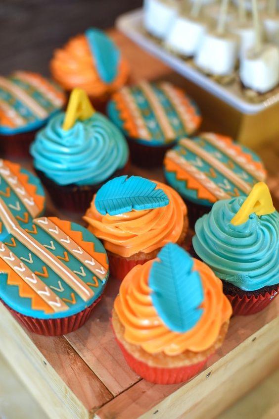 Tribal cupcakes from a Boho Tribal 1st Birthday Party on Kara's Party Ideas | KarasPartyIdeas.com (7)