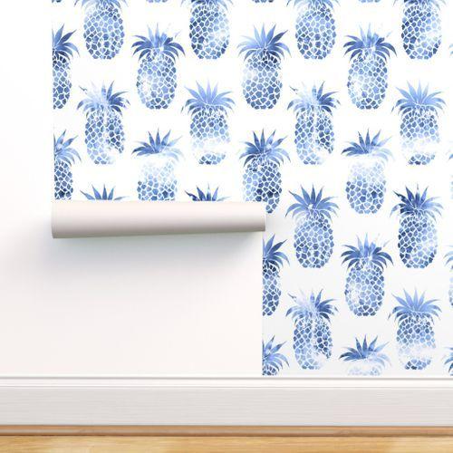 Pineapples Blue Watercolor Pineapple Wallpaper Blue And White Wallpaper Spoonflower Wallpaper