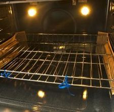 The best oven cleaner! Cover bottom of oven with baking soda, then pour vinegar so it's all wet. Let sit around 20 minutes or so then wipe all of it out with damp cloth or sponge. I leave my oven door open too.  After drying you may see some white residue, wipe again.