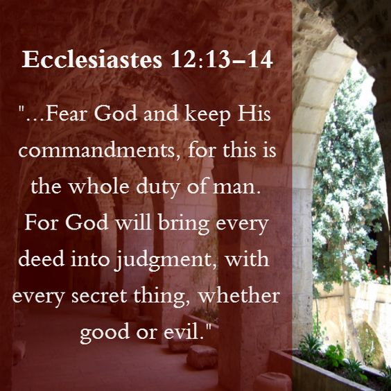 God will bring every deed into judgement...  Ecclesiastes 12:13-14