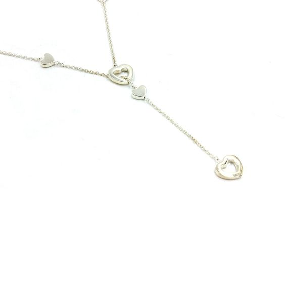 """Tiffany & Co. Hearts Lariat Necklace in 925 Sterling Silver 16"""" #TiffanyCo…"""