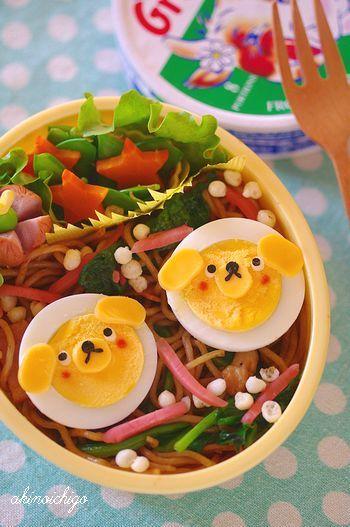 茹で卵わんちゃんの焼きそば弁当