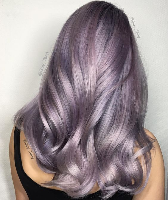 """@guy_tang used (on level 10 hair) #KenraColor #MetallicObsession Demi 8VM midshaft and 9VM on ends and went in using #KenraColorCreative Violet to create…"":"