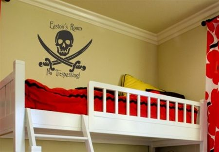 Love this 'Skull and Swords' wall decal for personalizing a boys pirate bedroom and for sending out a clear 'No Trespassing!' message to siblings who may dare to enter!