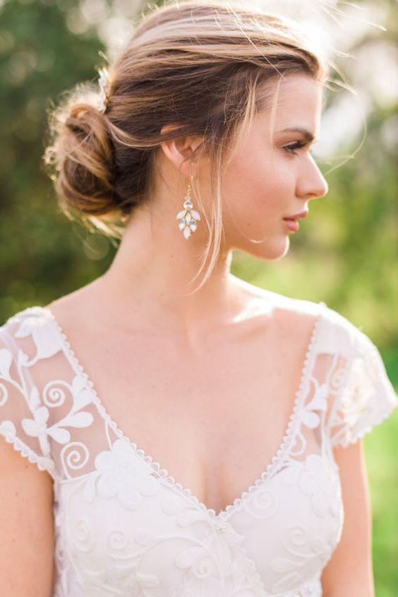 Gold Earrings Gold Bridal Earrings Crystal by ABitofLoveWedding