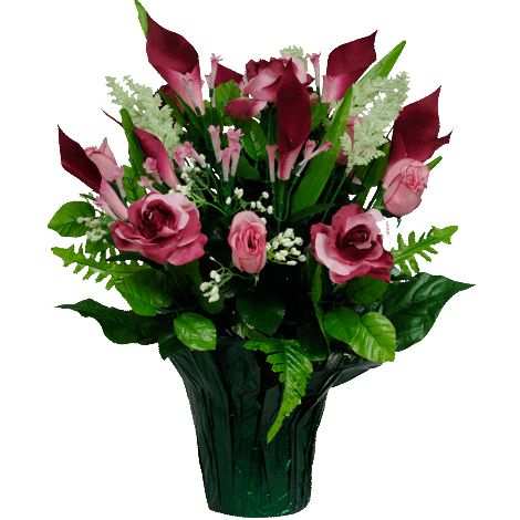 Pink and Burgundy Roses with Calla Lilies (PT1161)