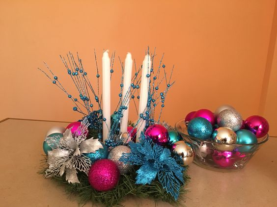 #christmascenterpiece #christmas #color #candle #complimentyourtree #blue#silver#pink #decoration