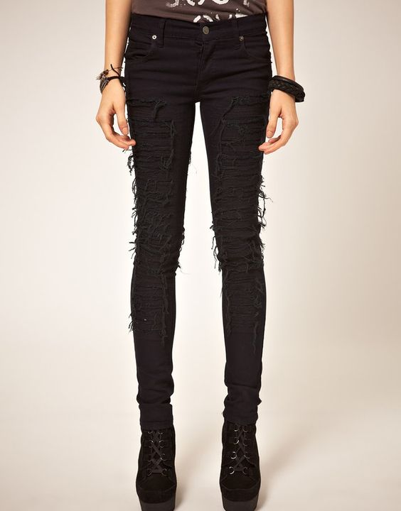 cheap ripped jeans for teens | Cheap Monday Narrow Ripped and Sewn