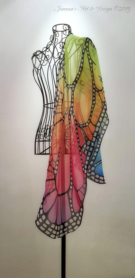 Handgeschilderde zijden sjaal The Rainbow door JoannaArtDesign