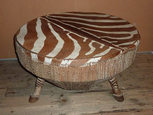 Retro African Style Large Zebra Skin Drum Table Authentic Taxidermy   32u0027u0027  Dia   Drum Table And Taxidermy