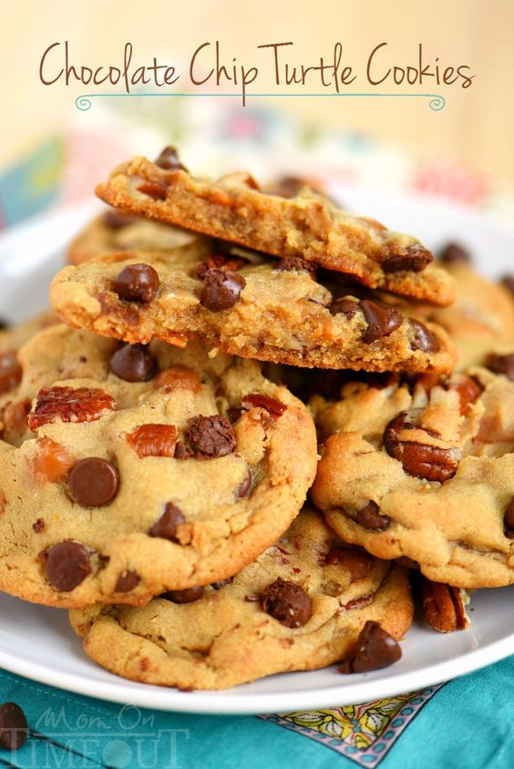 Chocolate Chip Turtle Pudding Cookies! Loaded with chocolate chips, pecans, and caramel, these giant cookies are extra chewy and packed with flavor!