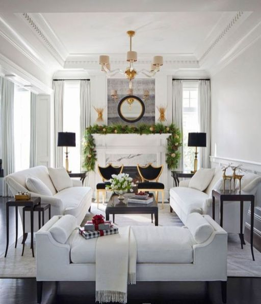 06 A Gorgeous Living Room With A Luxurious Feel Two White Sofas Contrast Two Black Chairs Next To Living Room White Living Room Designs Living Room Inspiration