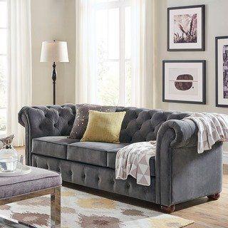 Knightsbridge Tufted Scroll Arm Chesterfield Sofa by iNSPIRE Q Artisan (Dark Grey Velvet), Black