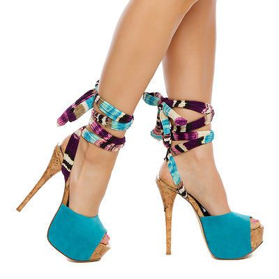 Details about New Sexy Fashion Blue Leg-Wrap Womens Platform High ...