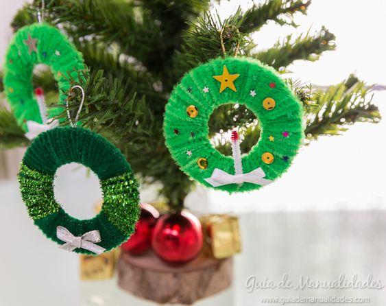 Mini coronas para el árbol de Navidad - Guía de MANUALIDADES