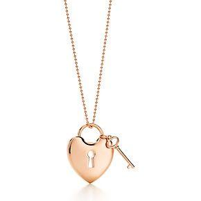 Tiffany Locks heart lock pendant with key in 18k rose gold.