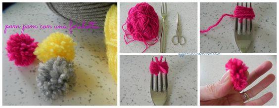 Oggi mi sento creativa: Rami pom pom - un decoro invernale-tutorial pom pom con forchetta