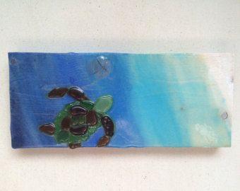 Sea glass art Sea turtle hawaiian honu tortuga tortoise swimming green sea glass mosaic turtle honu wall art turtle art green beach glass ar