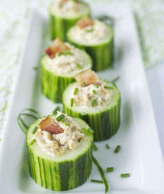 Cucumber cups: Stuffed Cucumber, Cream Cheese, Bacon Appetizer, Cucumber Cups, Finger Food, Party Food