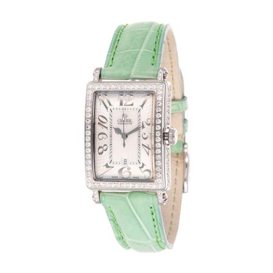Gevril    Avenue Of Americas Diamond Watch In Silver & Green
