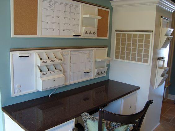desk with wall organizer: Desk Area, Command Center, Home Office, Cork Board, House Idea