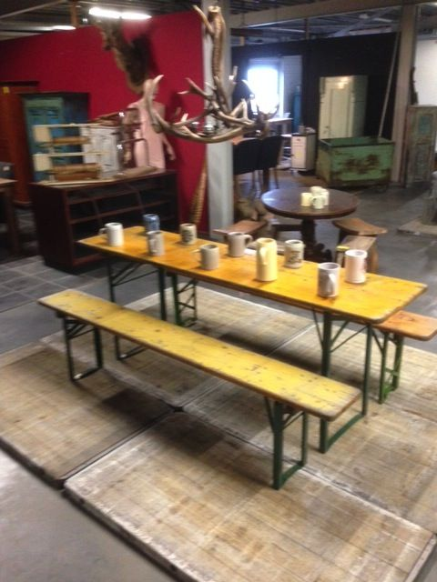 Vintage industrial belgium German beer garden tables yellow