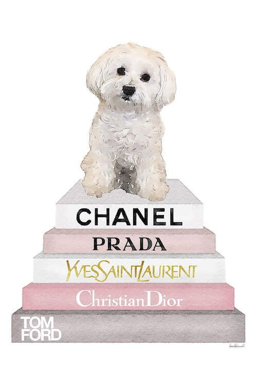Pink Grey Books With Maltese Canvas Art By Amanda Greenwood Icanvas Debut By Shytays Amanda Art Books In 2020 Girly Wall Art Chanel Wall Art Chanel Canvas Art