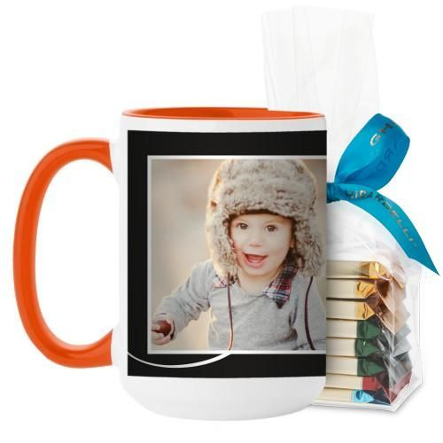 Love The Little Things Mug, Orange, with Ghirardelli Assorted Squares, 15 oz, Black