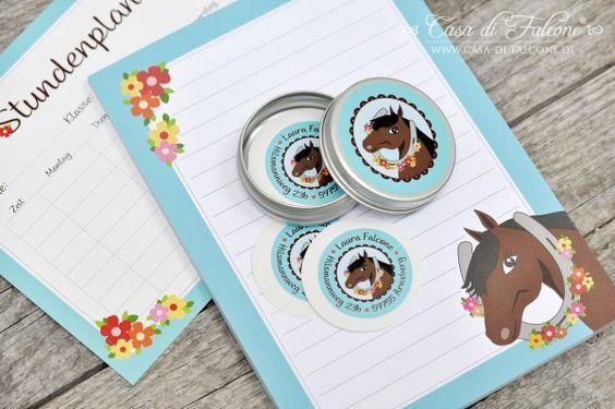 Schulanfang Starter-Set PferdI personalized sticker I Casa di Falcone