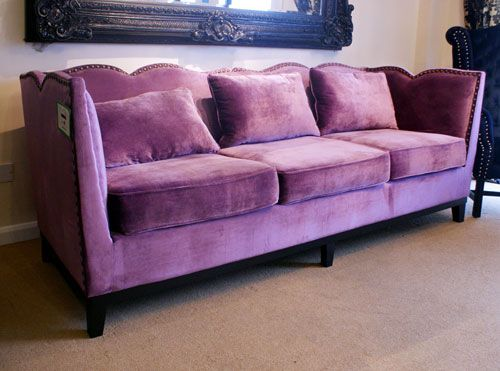 Lilac velvet with Studs 3 Seater Sofa
