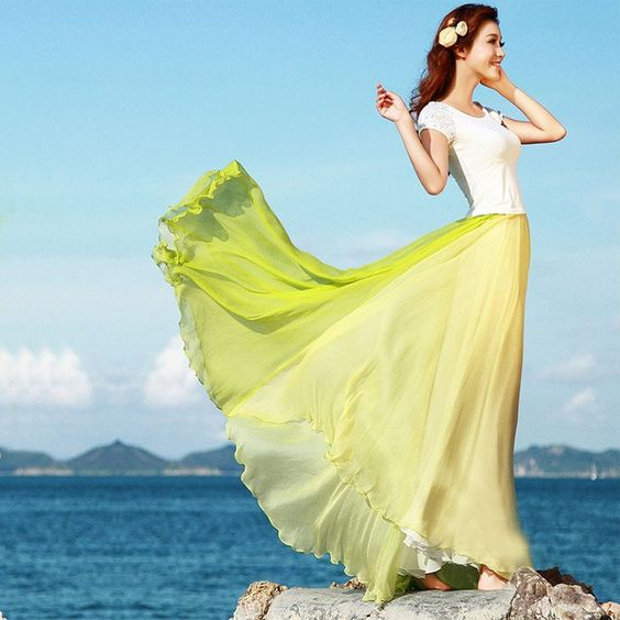 Bohemia Style Multi-way Strapless Chiffon Long Pleated Beach Skirt - Meet Yours Fashion - 1