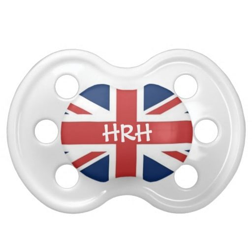 'HRH' His or Her Royal Highness British Flag Pacifiers