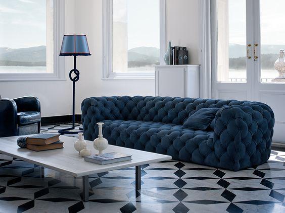 Tufted Nabuk sofa CHESTER MOON by Paola Navone | Sofa - BAXTER
