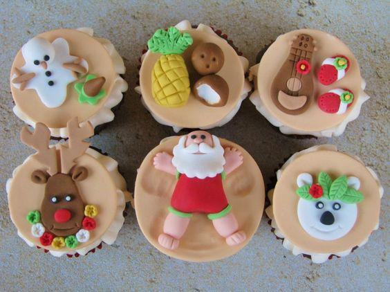 Mele Kalikimaka Christmas Cupcakes
