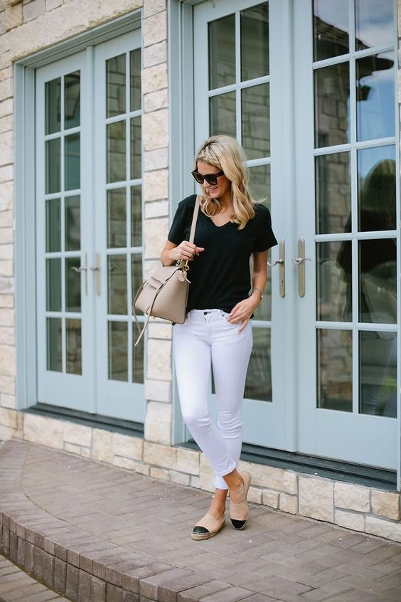 My outfit details: 1. White Jeans 2. Black Tee 3. Chanel Flats (similar here) 4. Céline Sunnies (similar here) 5. Céline bag (similar here) Weekend here I come! This outfit is the perfect outfit fo…