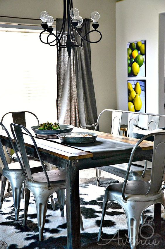 Room decor industrial dining rooms and industrial dining for Dining room ideas industrial
