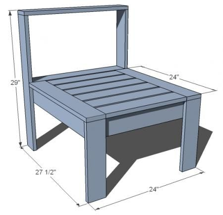 I want to make this!  DIY Furniture Plan from Ana-White.com  The most important piece of our Simple Modern Outdoor Sectional. Featuring armless sides, works with the corner/end piece to create a modern outdoor sectional.: