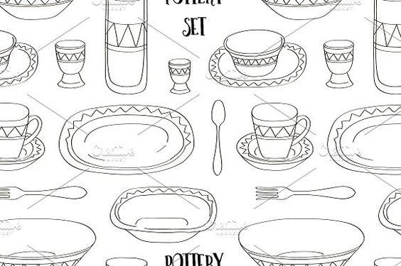 Pottery set pattern by Netkoff on @creativemarket
