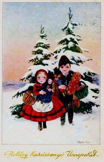 Vintage Hungarian Christmas Card