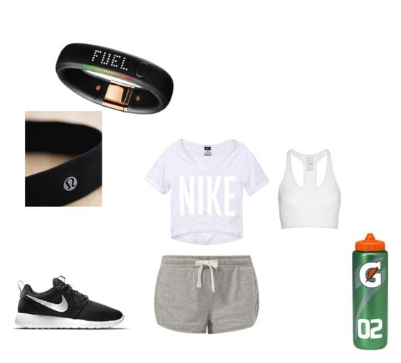"""Work out clothes"" by selene-hinteregger ❤ liked on Polyvore featuring NIKE, lululemon, adidas, women's clothing, women, female, woman, misses and juniors"