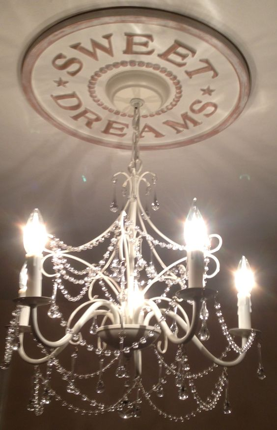 Nursery Decor by Marie Ricci. Sweet Dreams Chandelier Medallion shown in distressed white. Cast in lightweight resin from Marie's hand carved original. www.mariericci.com