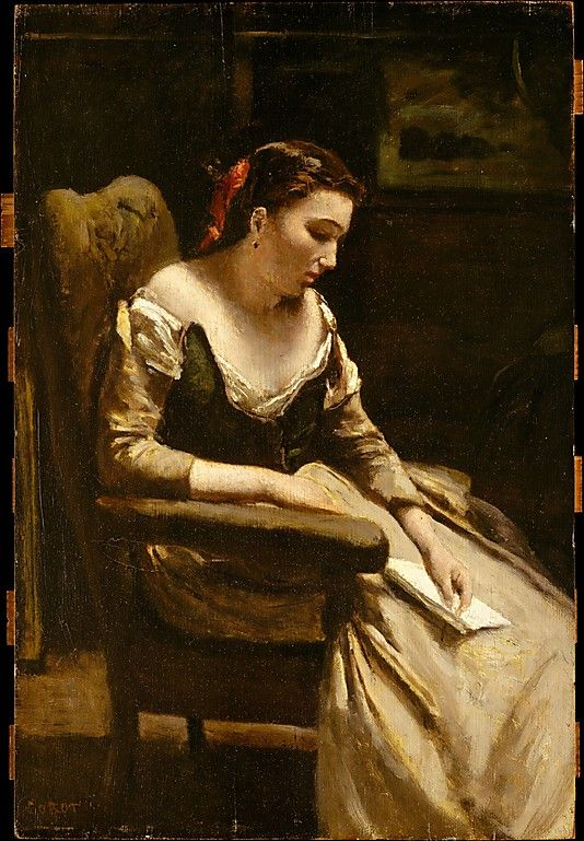 Camille Corot  (French, 1796–1875). The Letter, ca. 1865. The Metropolitan Museum of Art, New York. H. O. Havemeyer Collection, Gift of Horace Havemeyer, 1929 (29.160.33) #letters #Connections